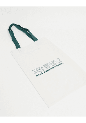 ASOS DESIGN tote bag in off white with print detail