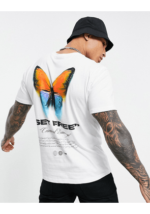 Criminal Damage butterfly backprint t-shirt in white