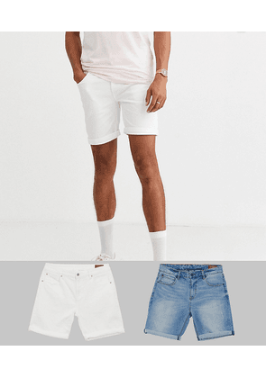 ASOS DESIGN Tall denim shorts in skinny white & light wash with abrasions-Multi