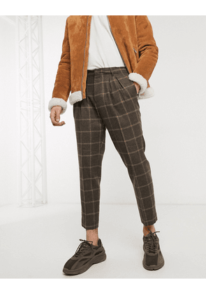 ASOS DESIGN tapered crop smart trousers in brown wool mix check