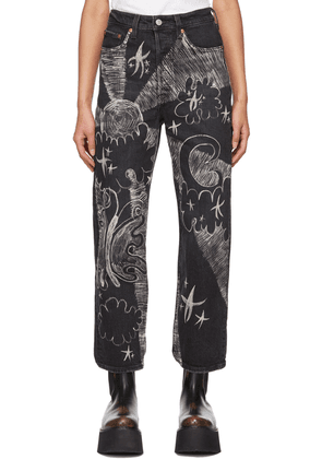 Anna Sui Black Anna Castellano Edition Hand-Painted Cosmic Jeans