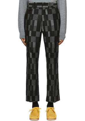 Needles Black Wool Checkered Trousers