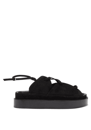 Co - Lace-up Suede And Leather Flatform Sandals - Womens - Black