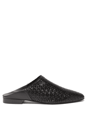 Co - Point-toe Woven-leather Backless Loafers - Womens - Black
