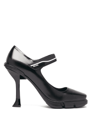 Prada - Rubber-sole Leather Mary Jane Pumps - Womens - Black