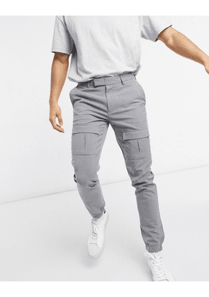 ASOS DESIGN skinny smart trousers with front cargo pockets in grey