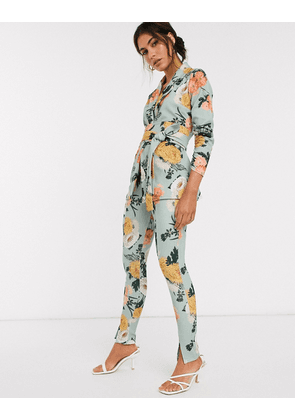 ASOS DESIGN jersey slim suit trousers in green floral-Multi