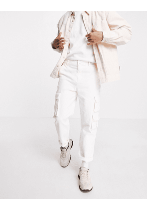 ASOS DESIGN skater fit cargo trousers in off white