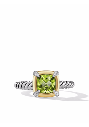 David Yurman 18kt yellow gold and sterling silver Châtelaine diamond and peridot ring