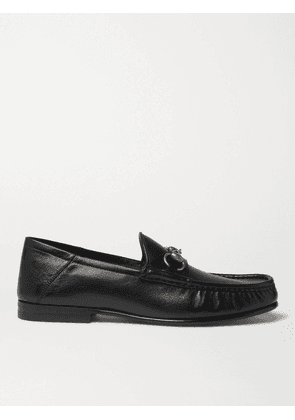 Gucci - Easy Roos Horsebit Collapsible-Heel Leather Loafers - Men - Black - UK 5