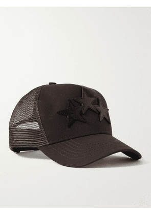 AMIRI - Leather-Trimmed Cotton-Twill and Mesh Trucker Hat - Men - Brown