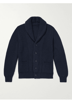 Anderson & Sheppard - Shawl Collar Ribbed Wool and Cashmere-Blend Cardigan - Men - Blue - S