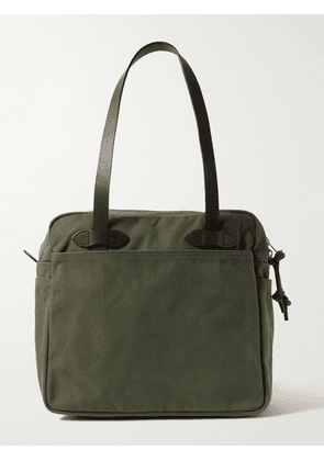 Filson - Leather-Trimmed Cotton-Twill Tote Bag - Men - Green