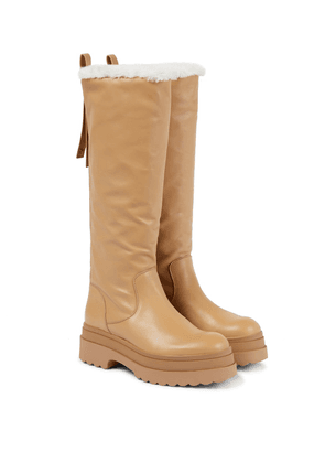Faux shearling-lined leather knee-high boots