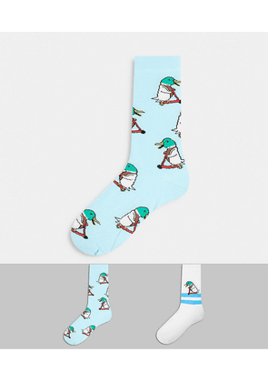 ASOS DESIGN ankle sock with duck riding a scooter 2 pack-White