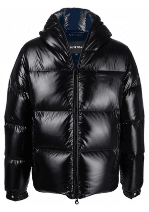 Duvetica logo-patch glossy puffer jacket - Black