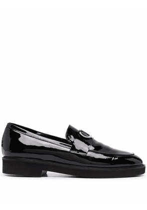 Casadei glossy leather loafers - Black