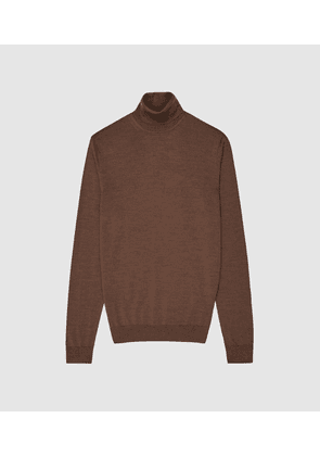 Reiss Caine - Merino Wool Roll Neck  Jumper in Toffee Brown, Mens, Size XS