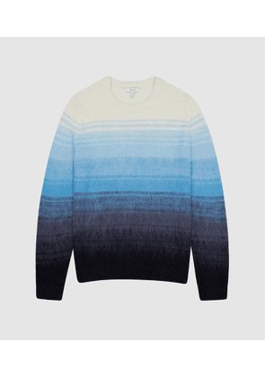 Reiss Seth - Striped Ombre Knitted Jumper in Blue, Mens, Size XS