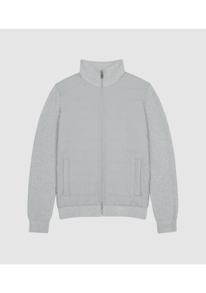Reiss Trainer - Hybrid Zip Through Quilted Jumper in Soft Grey, Mens, Size XS