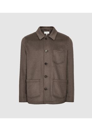 Reiss Mill - Brushed Worker Jacket in Brown, Mens, Size XS