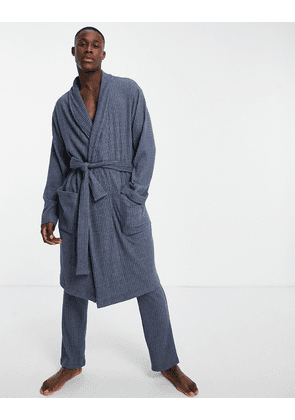 ASOS DESIGN co-ord dressing gown in soft rib in blue