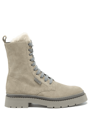 Brunello Cucinelli - Shearling And Suede Ankle Boots - Womens - Grey