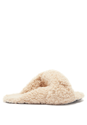 Balenciaga - Drapy Knotted Faux-shearling Sandals - Womens - Beige
