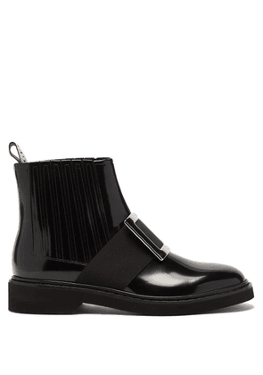 Roger Vivier - Rangers Buckled Patent-leather Chelsea Boots - Womens - Black