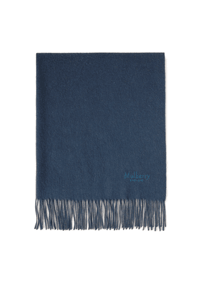 Mulberry Solid Lambswool Scarf - Deep Blue