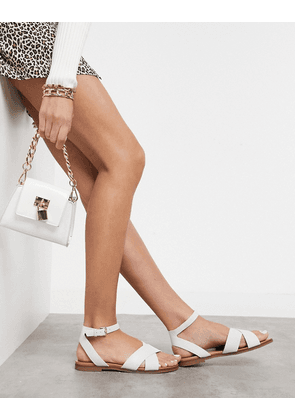 Aldo cross front two part sandals in white