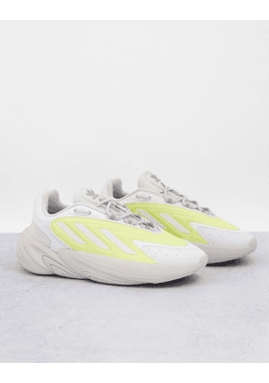 adidas Originals Ozelia trainers in beige with yellow detail-White