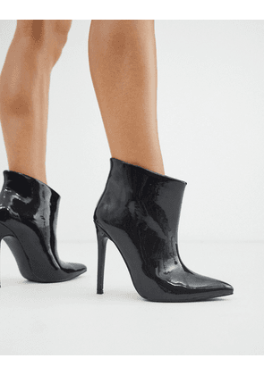 ASOS DESIGN Effortless pull on ankle boots in black patent