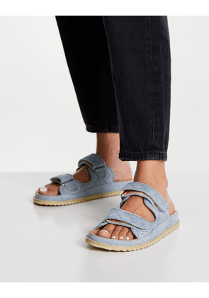 NA-KD quilted denim chunky sandals in blue