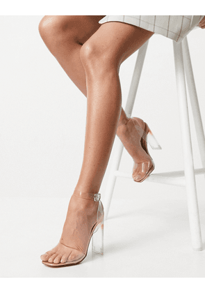 Truffle Collection clear heeled sandals in rose gold-Copper