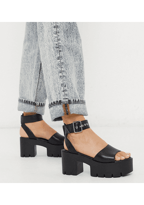 Truffle Collection wide fit chunky flatform heeled sandals in black