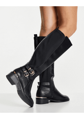 New Look Extra Wide Fit knee high riding boot in black