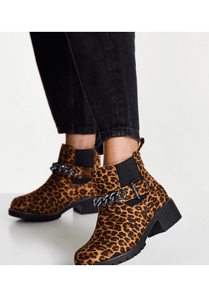 Simply Be Extra Wide Fit willow low ankle boots in leopard-Multi