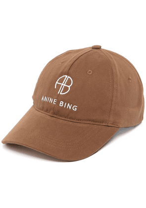 ANINE BING twill embroidered baseball cap - Brown