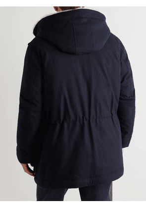 Brunello Cucinelli - Shearling-Trimmed Wool, Silk and Cashmere-Blend Hooded Down Parka - Men - Blue - XS
