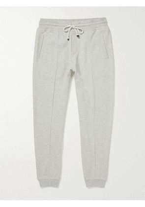 Brunello Cucinelli - Tapered Pintucked Cashmere-Jersey Sweatpants - Men - Gray - XL
