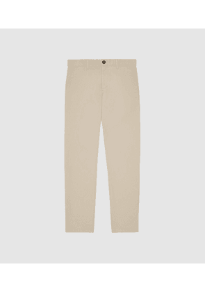 Reiss Pitch Short Leg - Washed Slim Fit Chinos in Stone, Mens, Size 28S