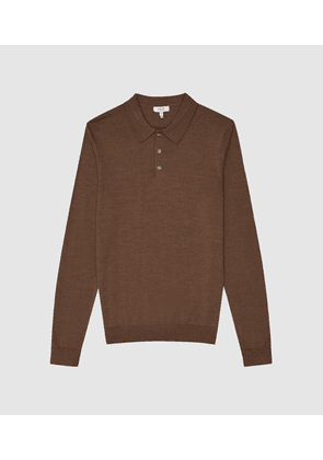 Reiss Trafford - Merino Wool Polo Shirt in Toffee Brown, Mens, Size S