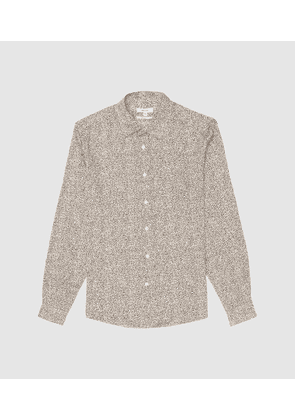 Reiss Blanca - Squiggle Print Long Sleeve Shirt in White, Mens, Size XS