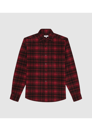Reiss Kemper - Checked Brushed Flannel Shirt in Red, Mens, Size XS