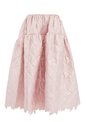 Cecilie Bahnsen - Joy Quilted-satin Midi Skirt - Womens - Light Pink