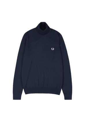 Fred Perry K9552 Navy Logo Wool-blend Jumper