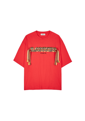 Lanvin Red Logo-embroidered Cotton T-shirt