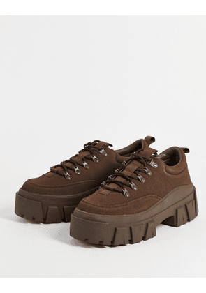 ASOS DESIGN lace up shoes in brown faux leather with chunky sole