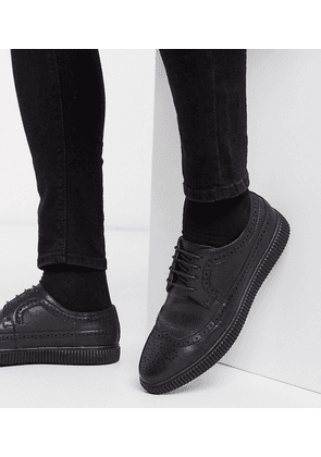 ASOS DESIGN Wide Fit vegan creeper brogue shoes in black faux leather